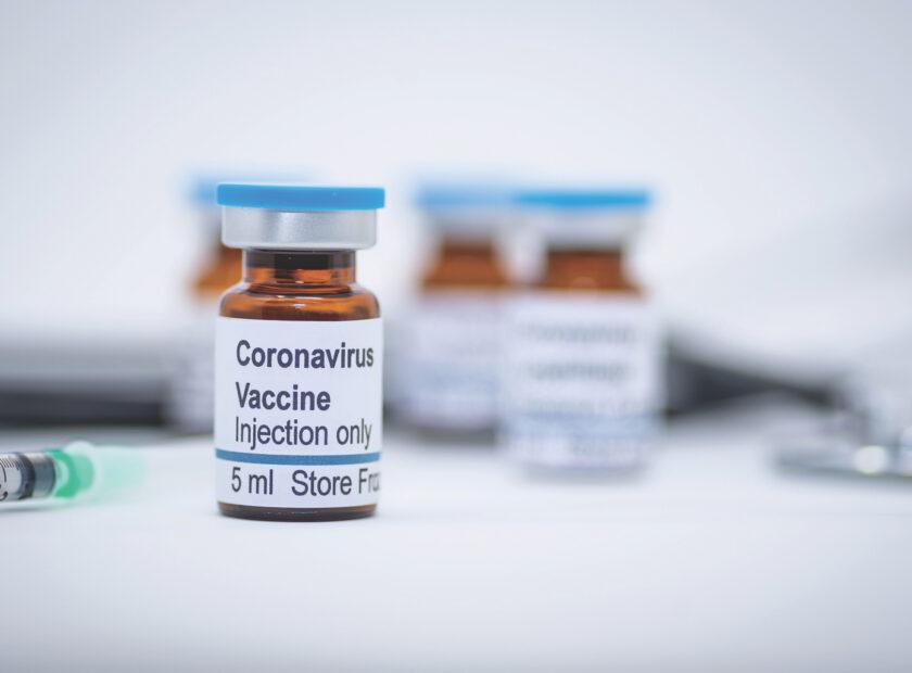 Coronavirus vaccine vial in hospital