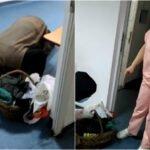 Bătrân în genunchi, lăsat de medici să zacă ore în șir pe holurile spitalului. VIDEO