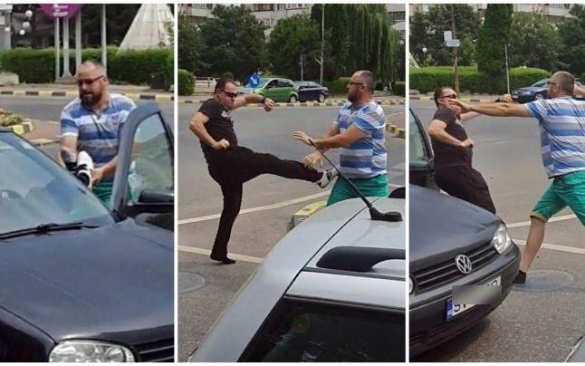 Bătaie între doi șoferi într-un sens giratoriu din Suceava! VIDEO